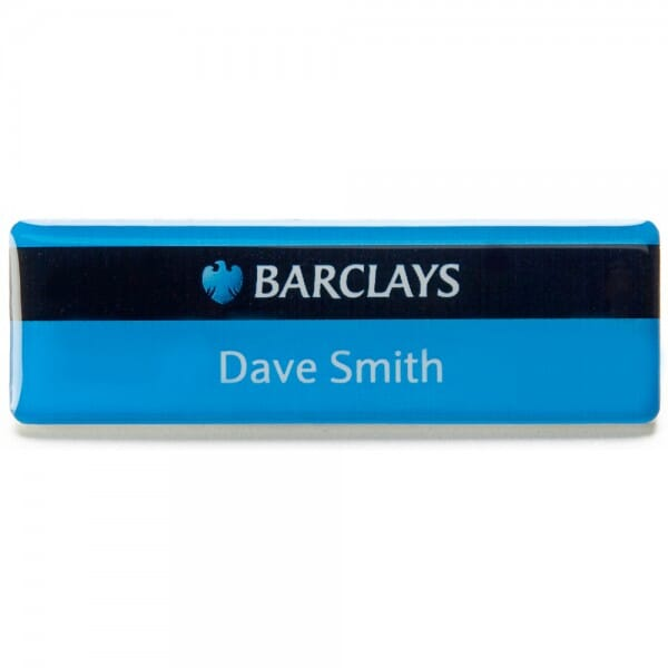 Personalised Domed Name Badge with full colour print - 75 x 40 mm