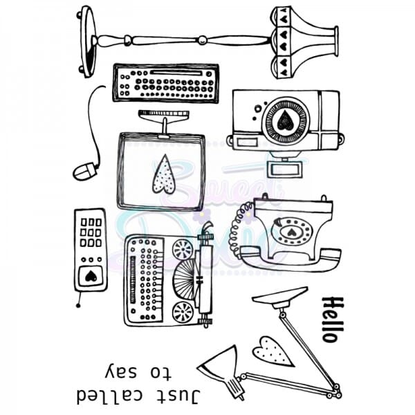 Cathie Shuttlworth Designs - Retro Tech Hello Clear Stamp A6