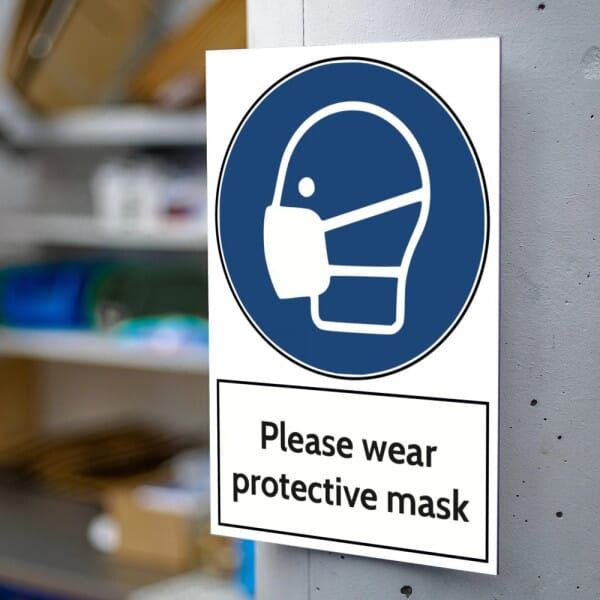 Aluminium Warning Sign - Please Wear Protective Mask (200x300mm)