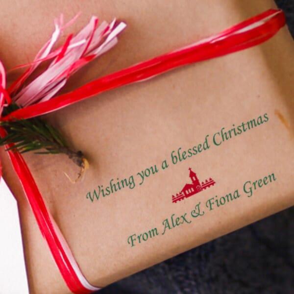 Custom Eco Gift Tag Stamp - Christmas Greetings
