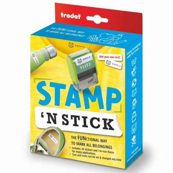Trodat's Stamp 'N Stick - Typo DIY Custom Textile Stamp - Ideal For Marking Kids Belongings