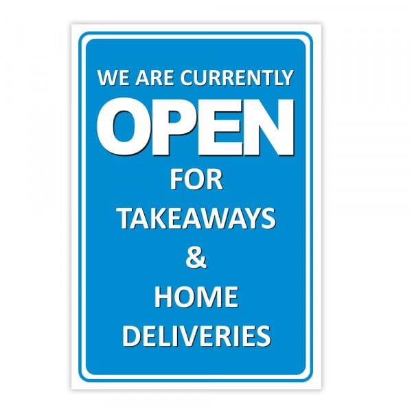 Aluminium Sign - We Are Open For Takeaways (200x300mm)