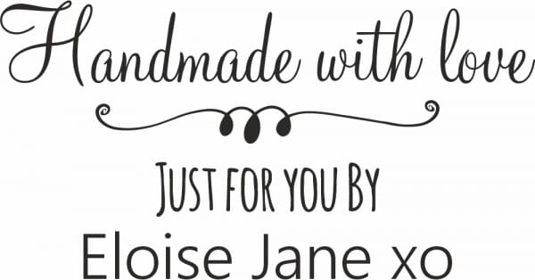 Personalised Handmade By Stamp - With Love, Just For You Design