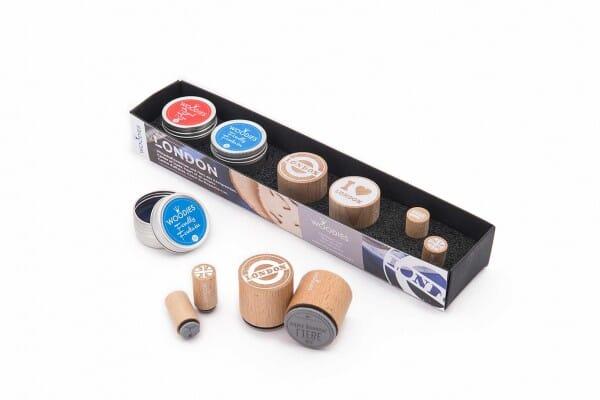 Woodies Kit LONDON 2 stamps Woodies, 2 stamps Mini-Woodies, 2 inkpads