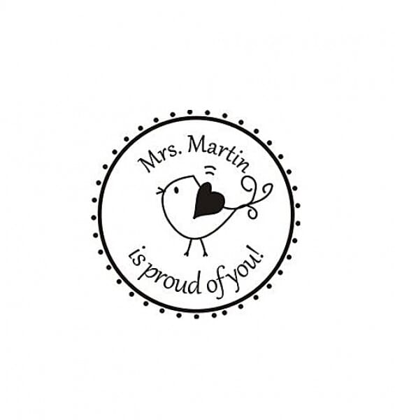 Personalised Teacher Stamp Small Round -19mm