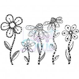 Sweet Dixie - Sweet Dixie Clear Stamp Zendoodle RTG Flowers A6
