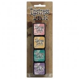 Ranger Ink - Tim Holtz Distress Mini Ink Pads Kit 4 - Sold in one strip of 4 pads