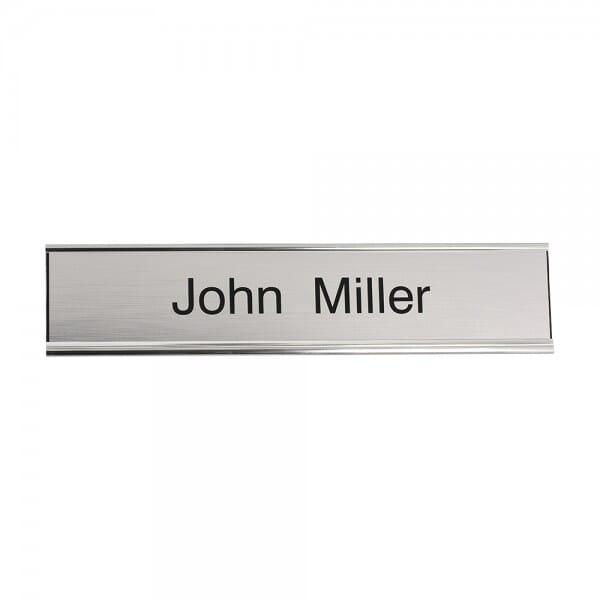 Door Nameplate engraved 200 x 50 mm - silver-black