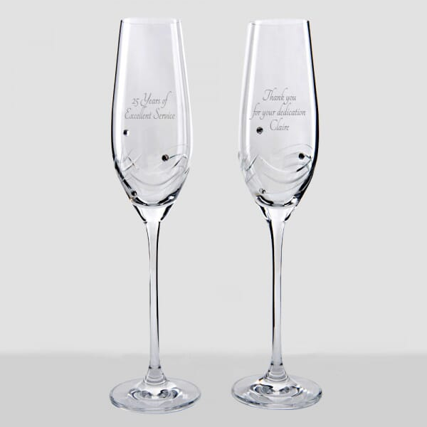 Personalised Service Award Champagne Flutes