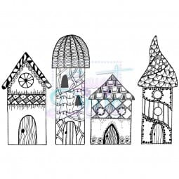 Lindsay Mason Designs - Zendoodle RTG Houses Clear Stamp size A6