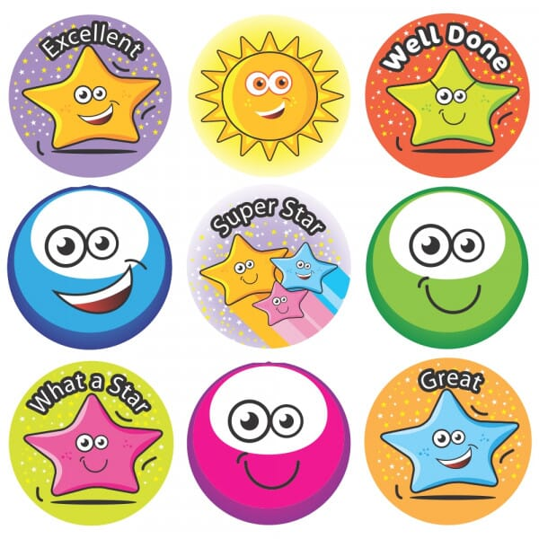 Bumper Pack Stickers - 3D Stars & Smiles