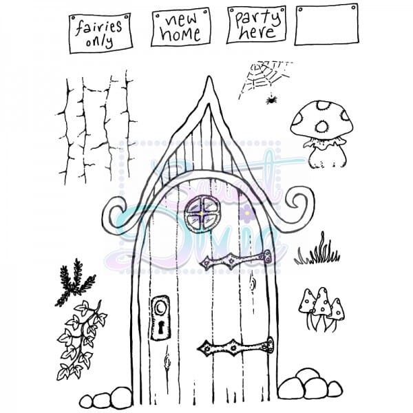 Lindsay Mason Designs - Curly Fairy Door Clear Stamp size A6