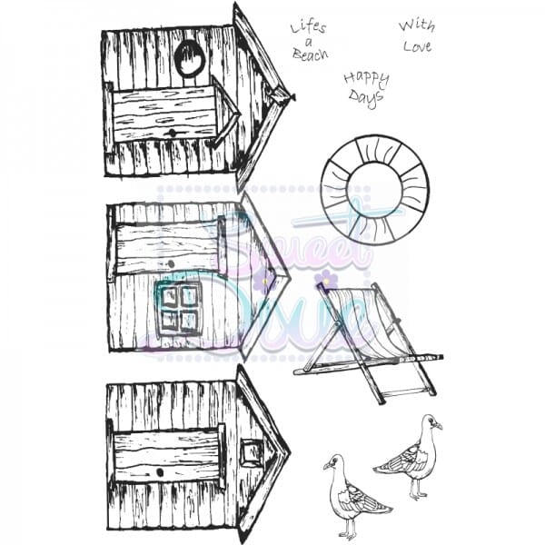 Kath Halstead Designs - Beach Huts Clear Stamp size A6