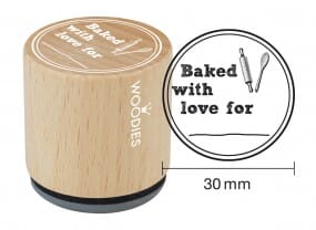 Woodies stamp Baked with love for