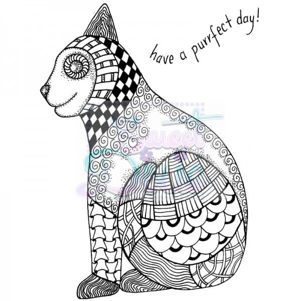 Lindsay Mason Designs - Zendoodle RTG Cat Clear Stamp size A6