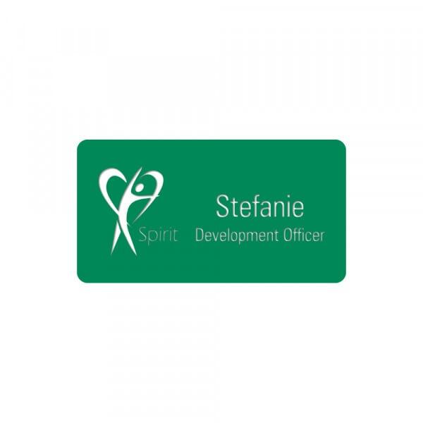 Engraved Name Badge - Rectangle Green