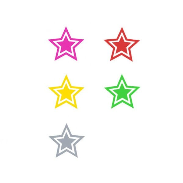 Teachers Marking Stamper - Set of 5 Stars in Gold/Silver/Bronze/Pink/Green, Trodat Printy 4612