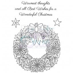 Sue Dix Designs - Floral Christmas Wreath Clear Stamp A6