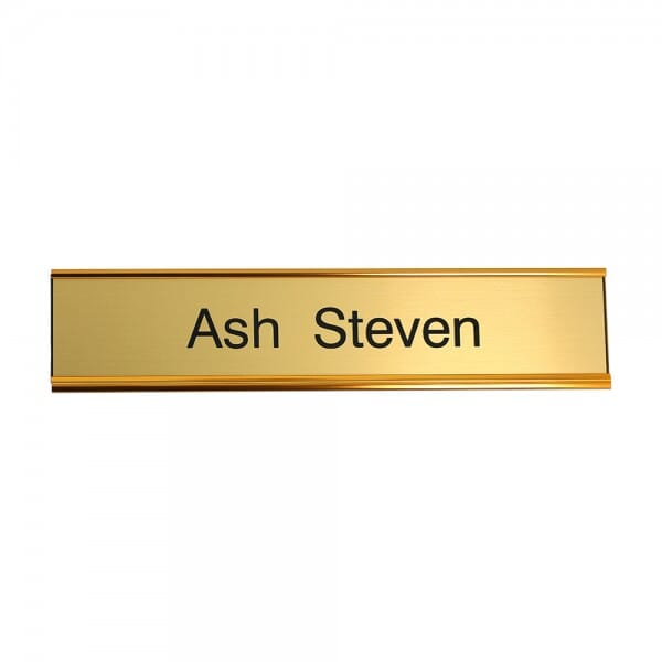 Door Nameplate engraved - 200 x 50 mm - gold-black