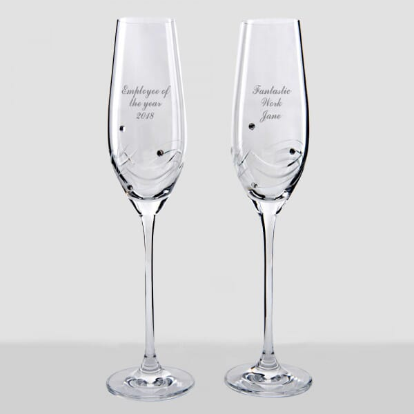 Personalised Employee Recognition Champagne Flutes