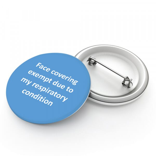 Face Mask Exemption Badge - Exempt Due To Respiratory Condition