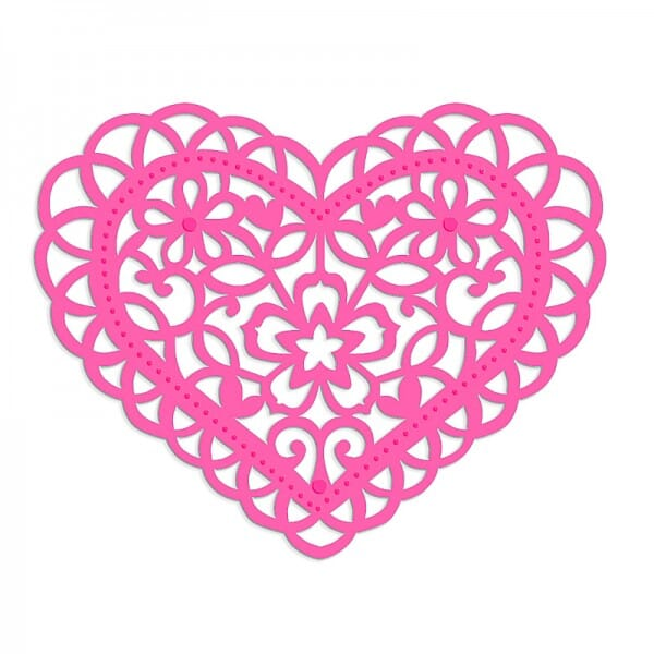 Sweet Dixie Filigree Floral Heart Die by Sue Dix