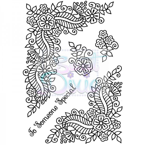 Sue Dix Designs - Fantasy Floral Corners Clear Stamp size A6
