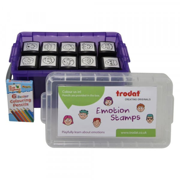 Set of 10 Emotion Stamps including colouring pencils