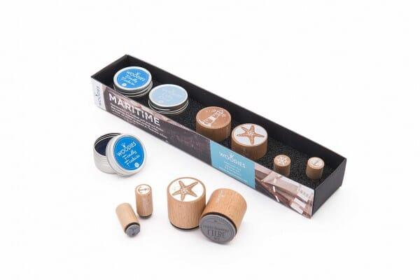 Woodies Kit MARITIM 2 stamps Woodies, 2 stamps Mini-Woodies, 2 inkpads
