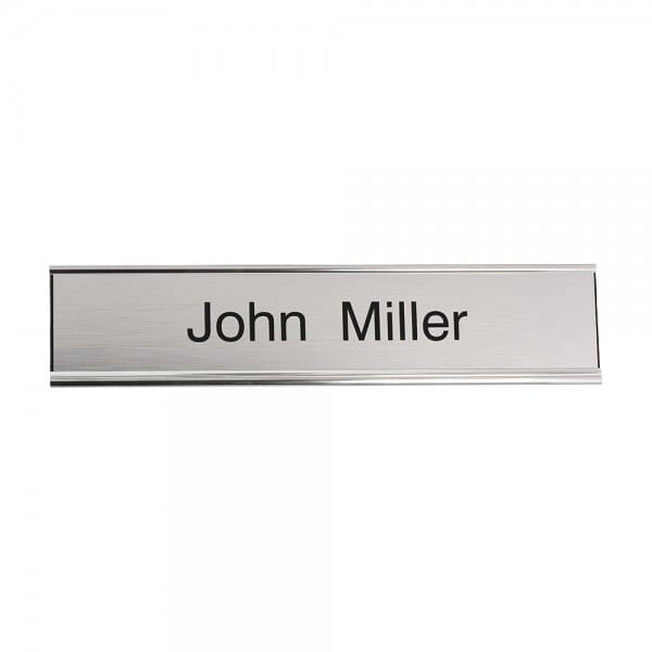 Door Nameplate engraved - 250 x 50 mm - silver-black