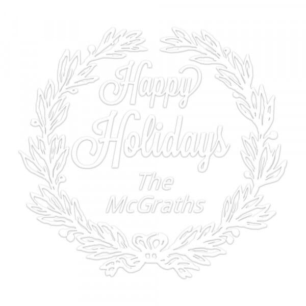 Happy Holidays Wreath Round Monogram Seal