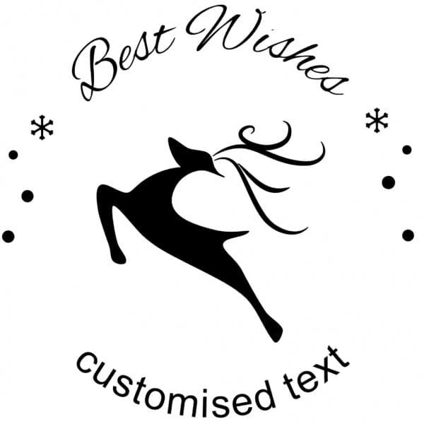 Custom Eco Gift Tag Stamp – Snowflake Stag Design