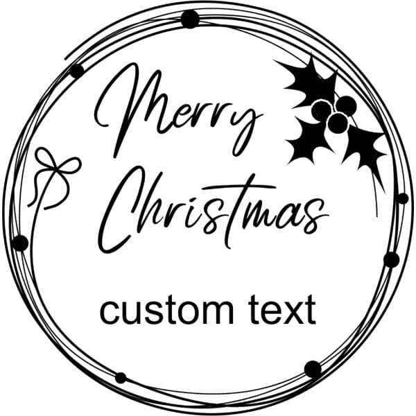Custom Eco Gift Tag Stamp – Christmas Holly Wreath Design