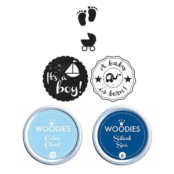 Woodies Kit BABY BOY 2 stamps Woodies, 2 stamps Mini-Woodies, 2 inkpads