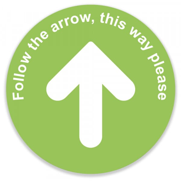 Social Distance Floor Marker - Green Circle With Arrow (400x400mm)