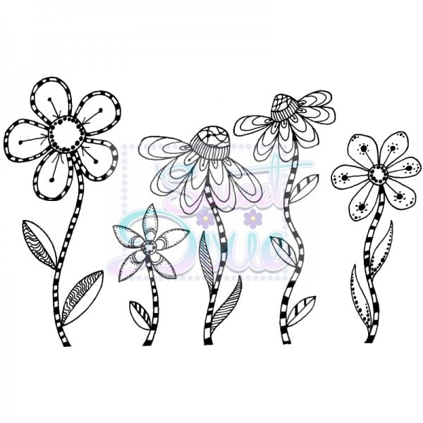 Lindsay Mason Designs - Zendoodle RTG Flowers Clear Stamp size A6