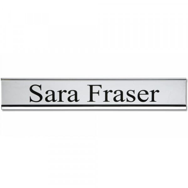 Customised Door Plate With Holder (250x50mm) - Silver