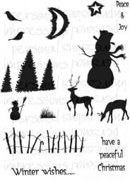 Lindsay Mason Designs - Peaceful Christmas A6 Clear Stamp