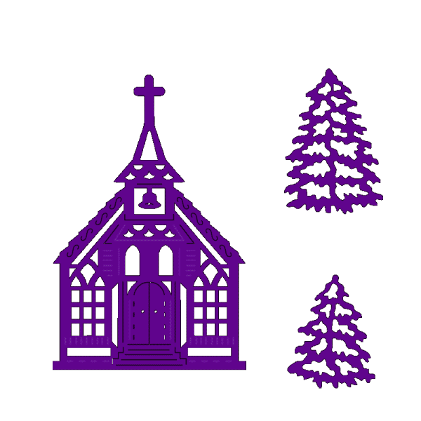 Sweet Dixie Christmas Church and Snowy Tree designed by Sue Dix