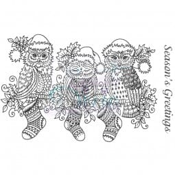 Sue Dix Designs - Festive Owls on a Branch Clear Stamp A6