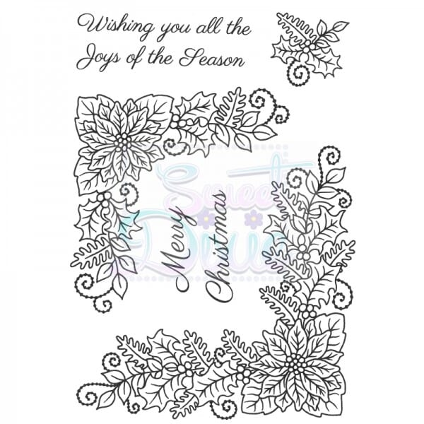 Sue Dix Designs - Floral Christmas Corners Clear Stamps A6
