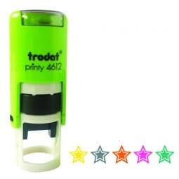 Teachers Marking Stamper - Set of 5 Stars in Gold/Silver/Bronze/Pink/Green, Trodat Printy 4612