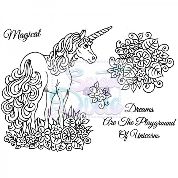 Sue Dix Designs - Unicorn Clear Stamp size A6