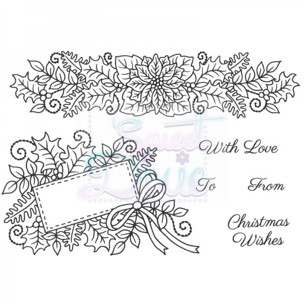 Sue Dix Designs - Floral Christmas Border and Tag Clear Stamp A6