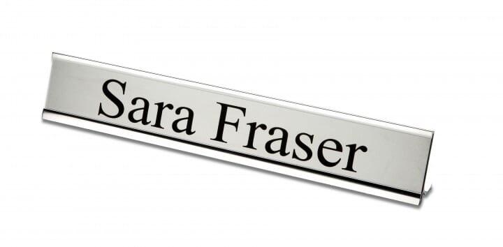 Desk Nameplate engraved - 200 x 50 mm - silver-black