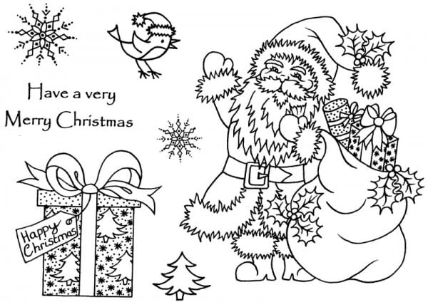 Sue Dix - Santa with Parcels Clear Stamp