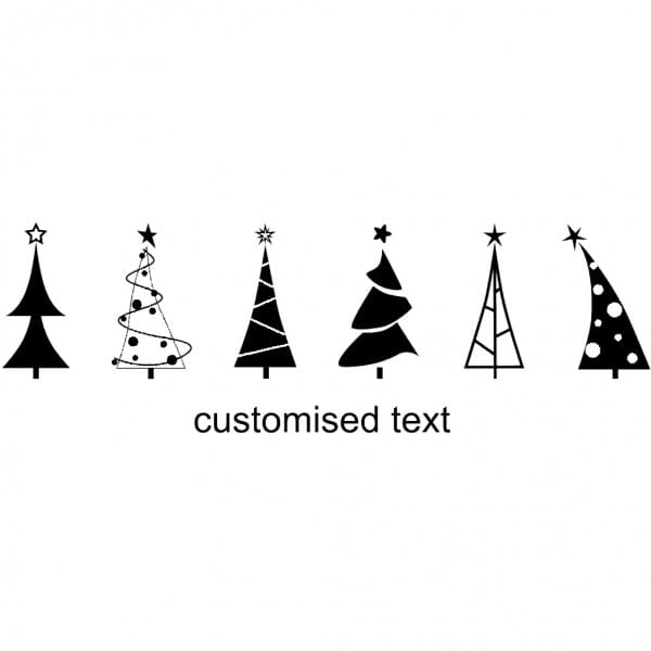 Custom Eco Gift Tag Stamp - Christmas Tree Forest Design