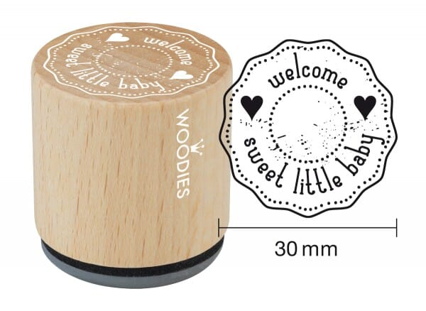 Woodies stamp welcome sweet little baby