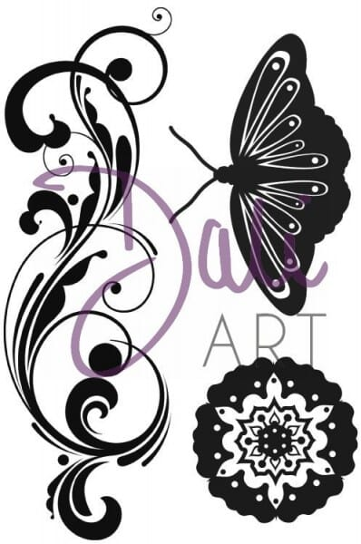 DaliArt - DaliART Clear Stamp Flourish Butterfly Flower