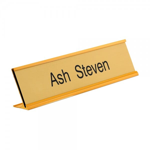 Desk Nameplate engraved - 250 x 50 mm - gold-black